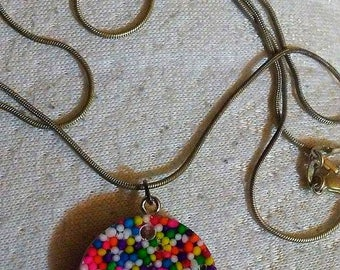 Gumball sprinkle resin necklace