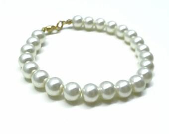 Pearl Bracelet, Vintage Pearl Bracelet, Classic Pearl Bracelet, White Pearl Bracelet