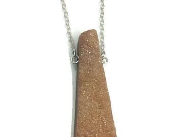 Tan Peach Druzy Necklace Silver- Raw Crystal Necklace- Triangle Druzy Necklace- Boho Long Layered- Natural Stone Jewelry Large Druzy Pendant