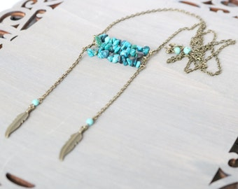 Feather Necklace - Long Necklace, Turquoise Necklace, Boho Necklace, Bohemian Jewelry, Rustic Style, Magnesite Gemstones, Blue Necklace