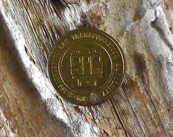 Vintage 1984 Massachusetts Bay Transit Subway Token Nostalgia Found Object Repurpose Brass Golden Coin