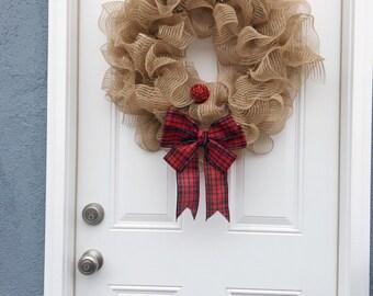 Reindeer wreath, christmas wreath, christmas wreath for front door, burlap christmas wreath, red christmas wreath, rudolph wreath, wreath