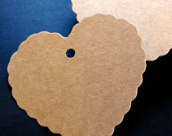 Brown Kraft Tags w/ Strings /Gift Tags /Hang Tags/ Price Tags/ Party Name Tags/ Favor Tags/ Packaging Tags /Paper Tag / Heart 50pcs