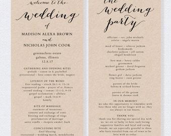 Wedding Program Template - Printable Wedding Program - DIY Editable Order of Service - EDITABLE by YOU in Word - print on Kraft