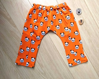 Panda harem pants 12-18 months, orange leggings 1 year, orange harem pants 12 months, panda leggings 18 months, orange harem pants 1 year