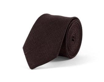 Brown tie, Dark brown necktie, Black brown linen necktie, Brown Pocket Square with Necktie, wedding tie, Chocolate brown tie, mens tie