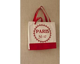 Tote Bag, Red, Paris, Fleur de Lis, Shopping Bag, Eco Friendly Bag, Book Bag