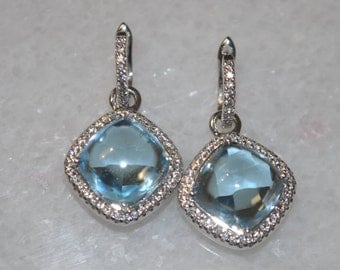 Blue Topaz and Sterling Silver Dangle Drop Earrings with Leverbacks for Women