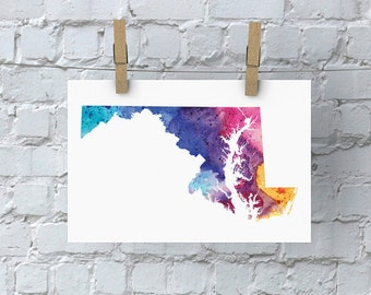 Maryland Watercolor Map - Giclée Print of Hand Painted Original Art - 5 Colors to Choose From