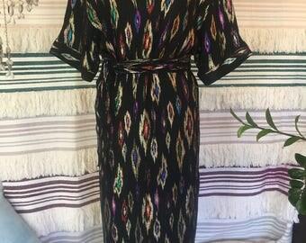 Vintage amazing 70s/80s Indian Ikat Metallic Lurex Party Dress