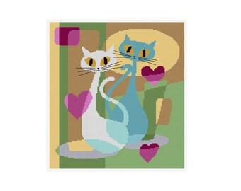 Love Cats - Durene J Cross Stitch Pattern