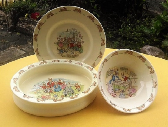 Vintage Bunnykins Dishes By Royal Doulton Made in England, Collectible Children's Plates, Three (3) Piece Baby Dish Set Bunnies Design