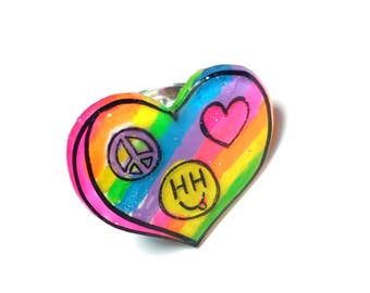 Peace, Love, Happy Hippie neon rainbow ring