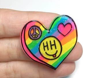 Peace, Love, & Happy Hippie neon rainbow heart pin