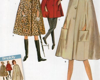 Simplicity 0985 8017 Free Us Ship Vintage 1960's Gidget Cape Cloak Head Scarf Reproduction Sewing Pattern  Uncut Size 6/14 14/22 Bust 30-44