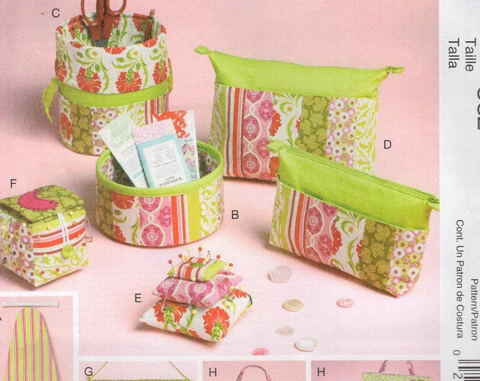 McCall's 6374 Free Us Ship Craft Sewing Pattern Organizer Room Ironing Board Cover Zip Case Pin Cushion Wall Out of Print 2011
