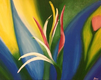 Original Acrylic Painting on Canvas: Growing Flower