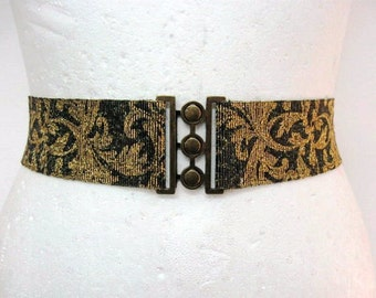 Antique Gold Waist cincher Elastic belt Bridal belt womens belt with buckle