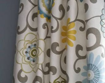 yellow and blue curtains, drapery panels, valances.  gray, blue, yellow curtains, panels. Any available lengths widths available.message me