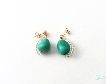 Genuine turquoise earrings Chakra earrings healing gemstone earrings gold wired earrings Free shipping gift Gold filled earrings
