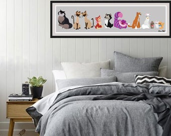 Disney's Cats of Disney Panoramic Poster/Print - minimalist cats meow disney cats furr whiskers disney panoramic disney poster art decor