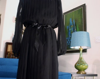 Sheer Pleated Dress with Lining Vintage Dress Black Dress 1960's Mod