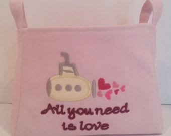Valentine's Day Basket * Submarine Basket * Fabric Basket * Valentine's Day Gift  * All you need is love * Valentine's  * Yellow Submarine *