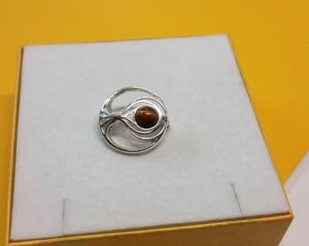 Brooch 925 Silver Tiger eye noble design SB243