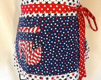 Womens Reversible Apron, Independence Day, Red, White , Blue, Flags, Stars, 4th of July