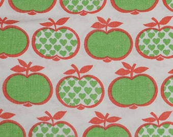 """Vintage fabric fabric 70s 70s Graziela apples and heart Apple's and hearts 50 x 125 cm / 19 x 49 """""""