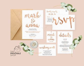 Rose gold wedding set, Rose gold wedding invitation printable, Wedding stationery, Wedding invitations Australia, Rsvp save the date