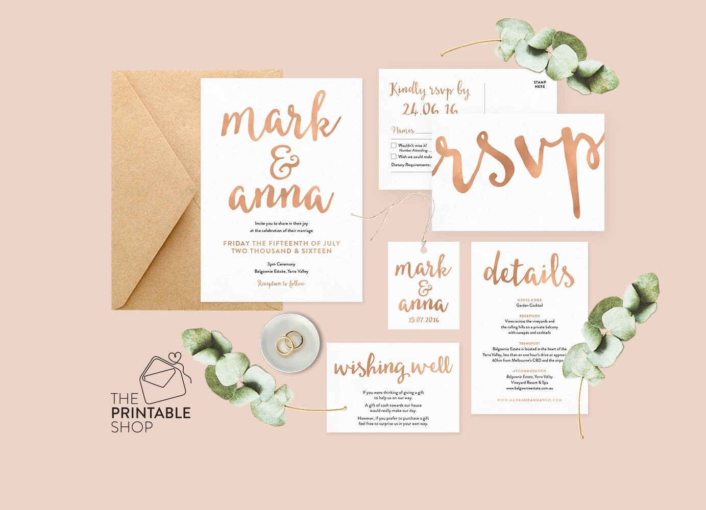 Printable Wedding Invitation Sets: Rose Gold Wedding Set Rose Gold Wedding Invitation Printable