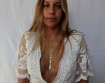 FLASH SALE!! RACHEL|| Strapy Coin Embellished Gold or Silver Plated Chain Bralette- Body Harness Jewelry- Summer- Disc Chain- Fancy Jewelry