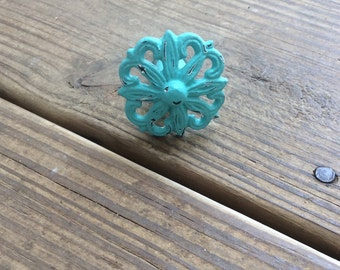 Teal Cast Iron Knobs ~ Fixer Upper Decor ~ Cast Iron Pulls And Knobs ~  Cottage