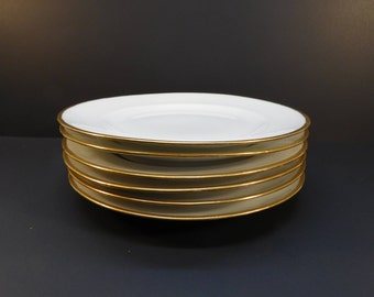 Vintage Bassett Limoges Austria White Plates with Gold Rim, Set of 6 Salad Plates
