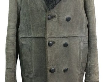 Vintage Suede Jacket in Grey Size M Faux Fur Lining - Very Good Condition - Free Postage
