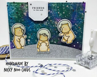 Handmade Space Bears Card