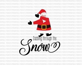 Dabbing Santa SVG Christmas Printable Cut Files Silhouette Studio Designer Edition Cricut Design Space Iron On Heat Transfer Commercial Use