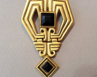 Art Deco Gold Tone Faceted Black Lucite Dangle Pin/Brooch