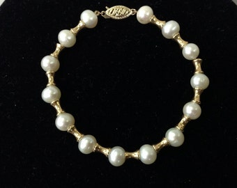 14K Gold Plate and Cultured Pearl Bracelet
