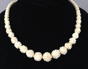 Carved Celluloid Graduated Ivory Rose Bead Necklace