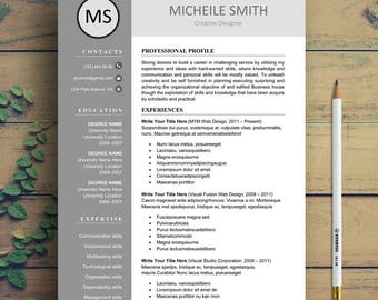 Resume Template, Professional Resume Template, Creative Resume Template For  Word  Resume Holder