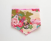 Traditional Japanese flowers baby bandana bib, baby girl gift, pink floral