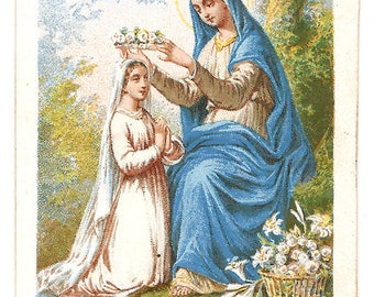 """Virgin Mary & Young Girl Antique French Catholic Holy Prayer Card, """"The Reward"""""""