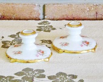 Rare 1960s Paragon Victoriana Rose 24K gilt fine china porcelain candlesticks, candleholders, cottage chic decor, vintage mid century