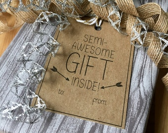 Semi-Awesome Gift Tags | Gift Tag Set | Funny Gift Tags | Holiday Tags | Christmas Tags | Birthday Tags | Gift Tags | Tags | Hang Tags