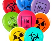 Mad Science Party Balloons - Mix Symbols - Pack of 8 | Geeky Flasks, Biohazard, Radioactive, Helium Periodic Table Teacher Chemist Party