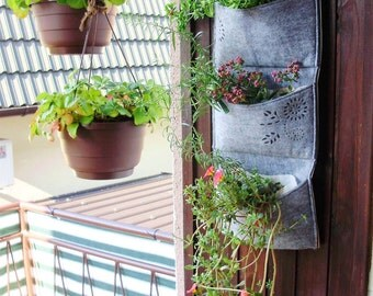 Vertical Garden Planter > Wall Planter > portable indoor/outdoor Herb Planter > watertight vertical planter > Laser engravings: Dandelions