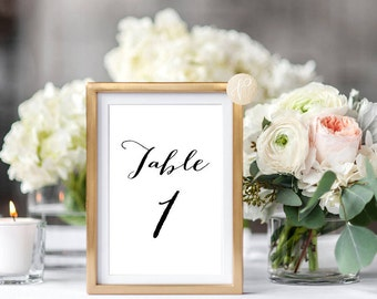 Instant Download || Printable Table Numbers, Wedding, Decor, Table Numbers, Simple, Elegant, Signs