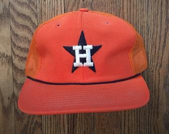 Vintage 80s 90s Houston Astros Baseball MLB Mesh Trucker Hat Snapback Baseball Cap